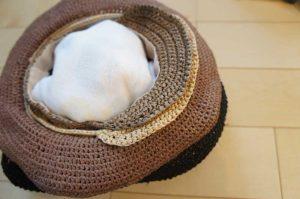 埼玉県所沢市のかぎ針編み教室pomponnerの麦わら帽子の保存