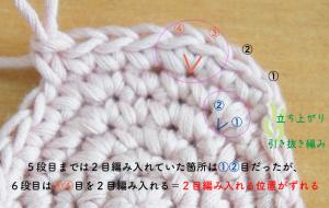埼玉県所沢市のかぎ針編み教室pomponnerが円の綺麗な編み方を教えるときの拡大画像