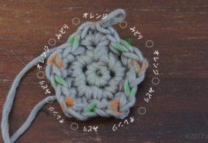 星のモチーフの編み方を解説しています。3段目を編む前に印をつけます。