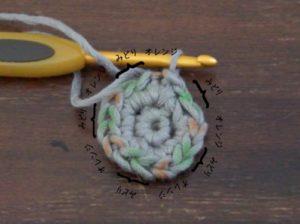 星のモチーフの編み方を解説しています。3段目を編む前に不rクションマーカーで印をつけます。