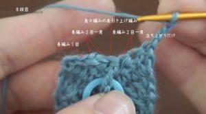 かぎ針編みで作る羽根のモチーフは、減らし目をすることで形が整えられます。