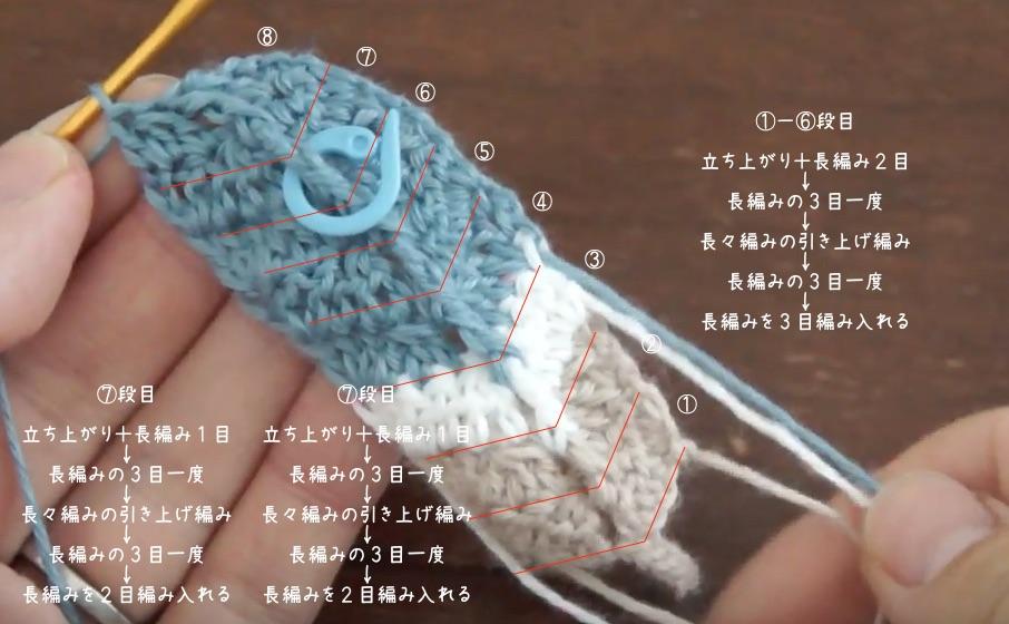 埼玉県所沢市の編み物教室poponnnerがかぎ針編みの羽根のモチーフの編み方を教えている様子。完成した羽根のモチーフを手に持っている画像。