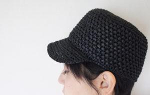 埼玉県所沢市の編み物教室pomponnerが毛糸ピエロのアミアンを使って編んだ模様編みの麦わらキャップ