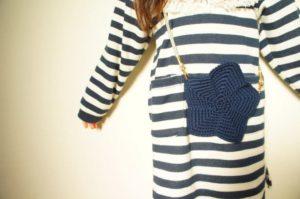 かぎ針編みで作る星のモチーフのポシェットは、ごしょう産業のコットンニィートという毛糸を使用しています。