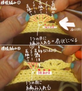 ニューボーンフォトの衣装にオススメの王冠の編み方の説明画像
