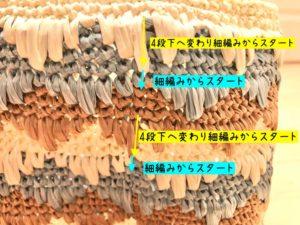 エコアンダリヤを使ってかぎ針編みの模様編みを編んでいます。模様ごとに編み始めを変えることでひし形が浮かび上がる説明をしています。