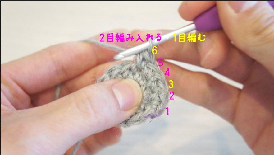 二重の輪の作り目で円を編んでいます。3段目は2目編み入れるところと細編みが交互にあります。