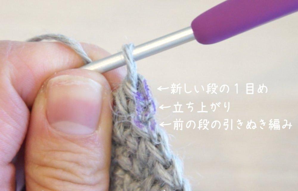 かぎ針編みで二重の輪の作り目から円を編んでいます。引き抜き編みと立ち上がりは飛ばし、1目めに引き抜きます。
