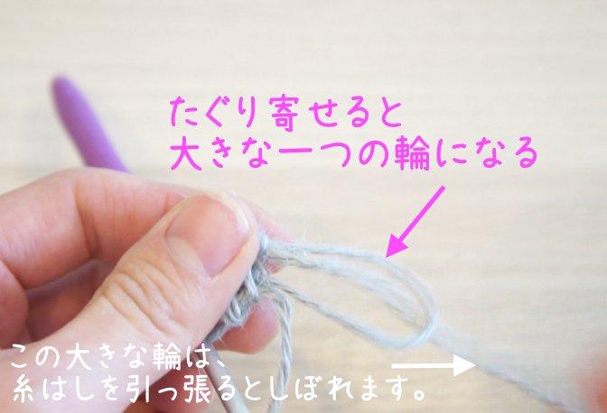 二重の輪で作り目を作る円の編み方を説明しています。細編みを編み、二重の輪を引き締める様子です。
