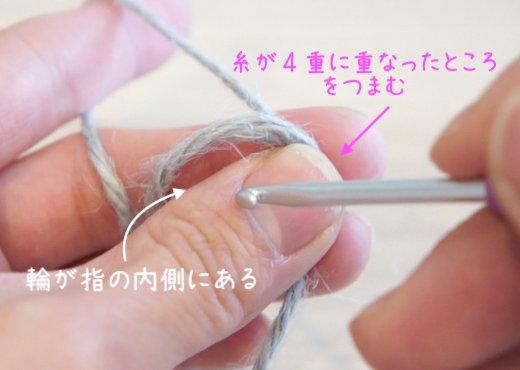 二重の輪で作り目を作る円の編み方を説明しています。二重の輪を左ての親指と中指でつまんでいる様子です。