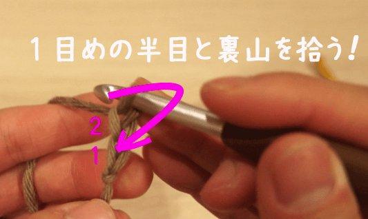 伸縮する作り目の編み方を説明しています。鎖編みを2め編んだところです。