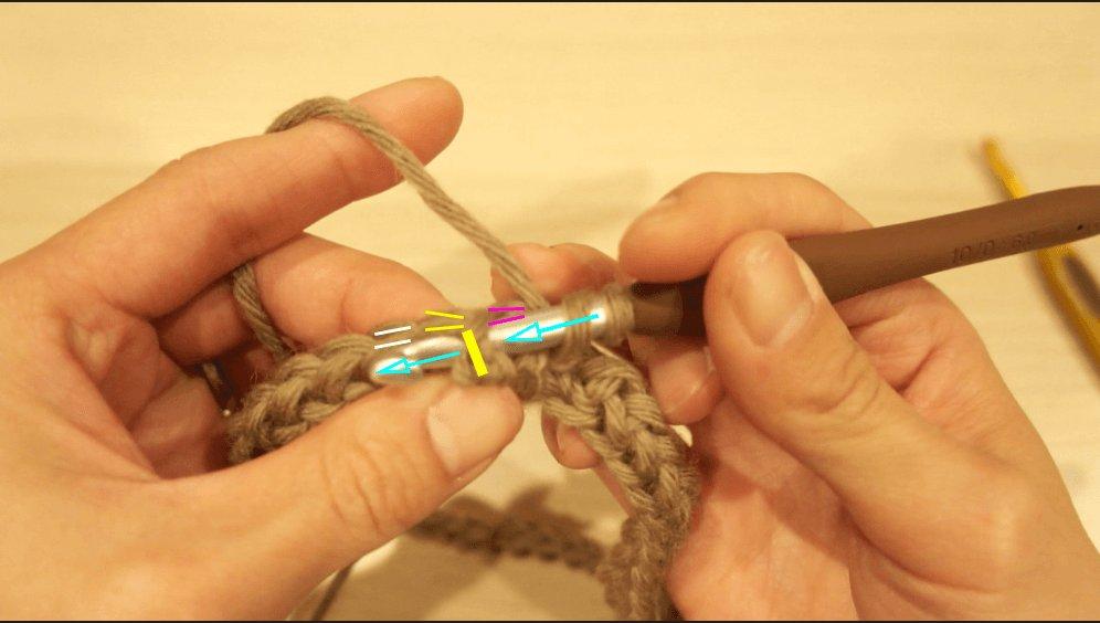 かぎ針編みでゴム編みのスヌードを編んでいます。ゴム編みに仕上げるには長編みと表引き上げ編みを使います。