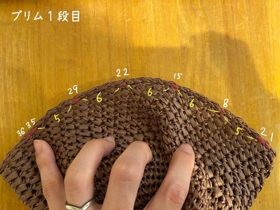 細編みで編む模様編みのキャップの編み方を紹介しています。ブリムの編み方を示している画像です。